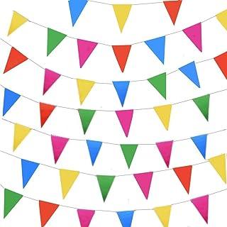 comprar comparacion JZK 80 Metros Bunting Partido Colores triángulo Banner Bandera Cuerda Colgando decoración para Boda cumpleaños celebracion...