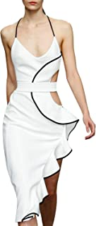 Women's White Cut Out Bandage Ruffle Cocktail Dress Backless Sexy Evening Clubwear