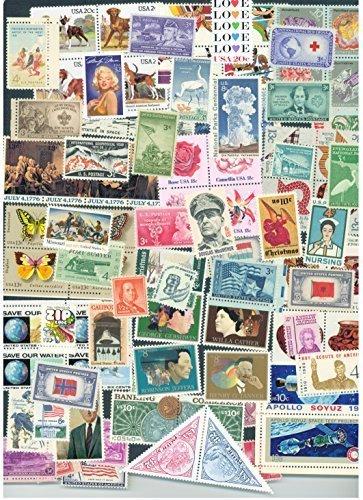 USPS Lot of 100 Different Mint US Postage Stamps, Vintage Packet MNH unused