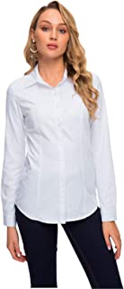 Women's Simple Button Down Shirt Long Sleeve Formal Work Blouse