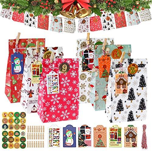 Adventskalender zum Befüllen, 24 Geschenktüten, Weihnachten splätzchen Bonbontüten Kraftpapiertüten, mit Holzklammern+ Weihnachtsanhänger+Farbseil, für Hochzeiten, Weihnachten, Party(23x12x7.5cm)