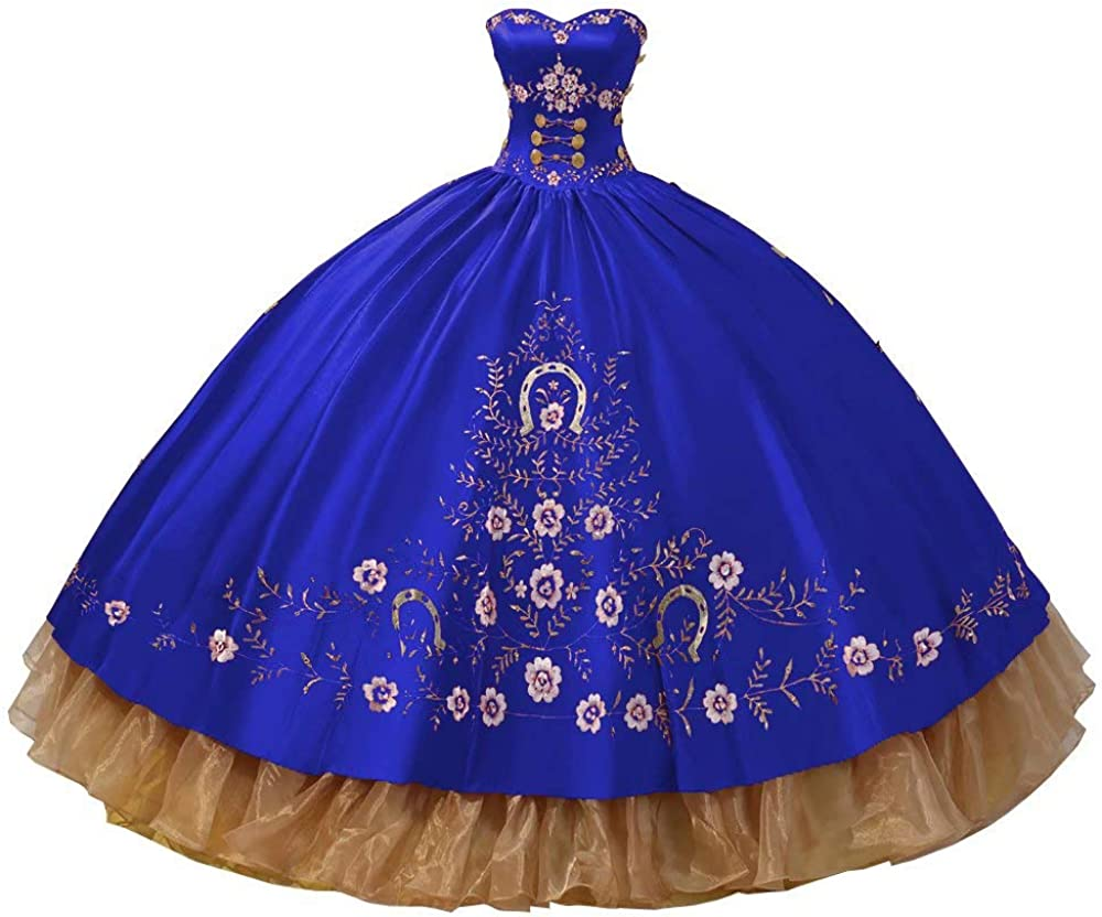 Amazing Gold Embroideried Strapless Ball Gown Quinceanera Prom Dresses Satin Ruffled 2021