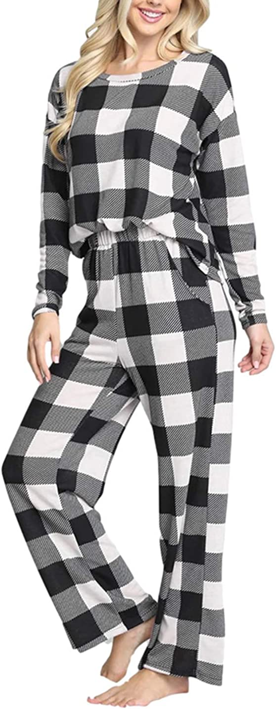 Omoone Women's 2 Piece Leopard Sales of SALE items from new works Outfits Plaid Sleeve Long Max 74% OFF Lounge