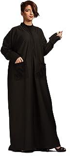 عباية كاجوال للنساء مع جيوب بتصميم - اسود