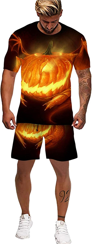 Men Tracksuit 2 Piece Outfit Set Halloween Print T Shirt Shorts Clothing Short Sleeve Suit Gym Fitness Sweatsuit