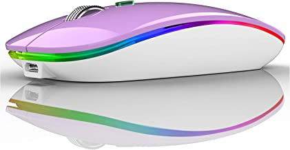 LED Wireless Mouse, G12 Slim Rechargeable Wireless Silent Mouse, 2.4G Portable USB Optical Wireless Computer Mice with USB...