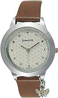 ساعة سوناتا للنساء بمينا ابيض -87019SL05