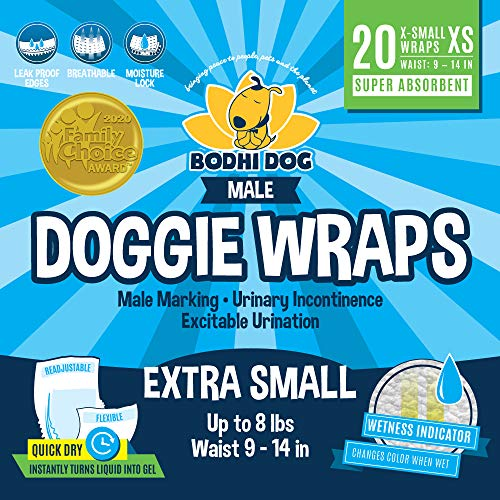 Disposable Dog Male Wraps | 20 Premium Quality Adjustable Pet Diapers with Moisture Control and Wetness Indicator | 20 Count Extra-Large Size