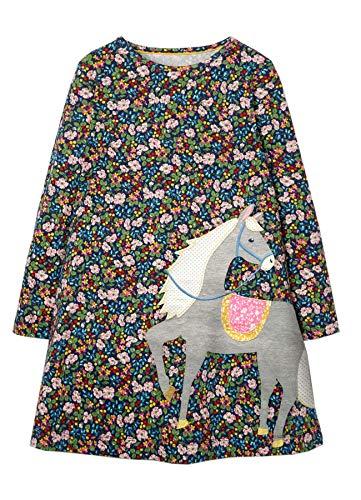 Beilei Creations Mädchen Kleider Baumwolle Karikatur Stickerei Casual Jersey Kleider Gr.85-130 (7Jahre/130cm, Blume)