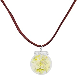 CHOORO Daisy Flower Necklace Real Dried Flower Necklace Handmade Pressed Flowers Jewelry Gift for Nature Lovers Mori Girl