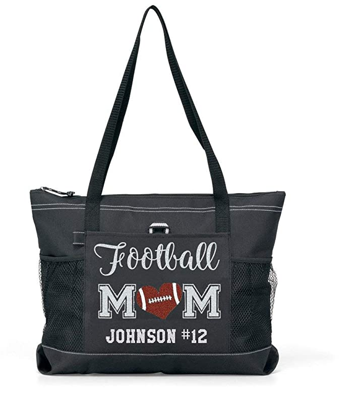 Totesntogs Glitter Football Mom with Player Name design with Brown Glitter Heart tote Bag in Black/Black.
