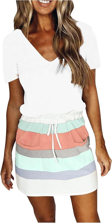 iQKA Women's Short Mini Dress Striped Print Short Sleeve V Neck Belt Dresses Summer Casual Pocketed Dress Vestidos