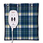 Sunbeam Heating and Massage Pad for Pain Relief   Small Flexi-Soft, 2 Heat & 2 Massage Settings with Auto-Off   Blue Plaid, 12-Inch x 12-Inch