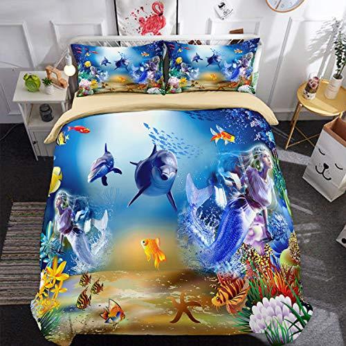 WONGS BEDDING Finding Nemo Juego de Cama Underwater World Dolphin Mermaid Quilt Cover con 2 Fundas de Almohada 3 Piezas Juego de Cama de Microfibra Suave hipoalergénico King 220 * 240cm