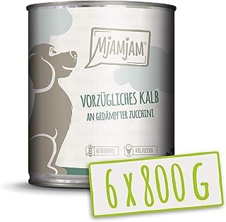MjAMjAM - Pienso acuoso para Perros - Exquisita Ternera con calabacín al Vapor - Natural - 6 x 800 g