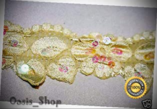 1 Yard Pastel Yellow Leaf Sewing sew Craft DIY Stretch LACE Sequins 2