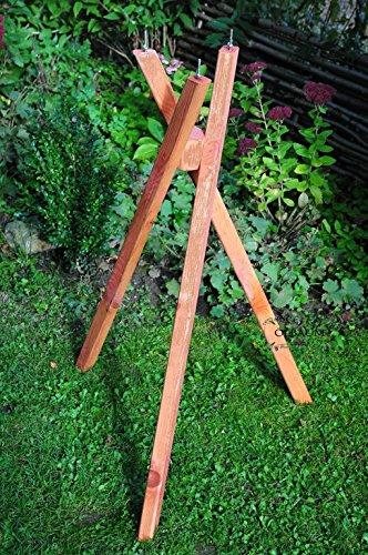 Vogelhaus-Ständer,Dreibein Ständer,Standfuß massiv für Gartendeko Futterstation mit Silo braun lasiert behandelt rustikal für Vogelhaus, Insektenhotel, Nistkasten - 2