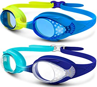 OutdoorMaster Kids Swim Goggles 2 Pack - Quick Adjustable Strap Swimming Goggles for Kids