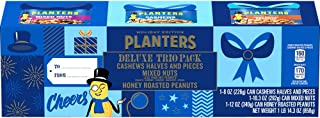 Planters Deluxe Holiday Trio Snack Nut Pack with Mixed Nuts, Cashews, and Honey Roasted Peanuts (Pack of 3)