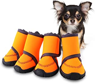 HaveGet Waterproof Dog Shoes Adjustable Straps and Rugged Anti-Slip Sole Paw Protectors for All Weather Comfortable Easy to Wear Suitable for Small Medium Large Dog
