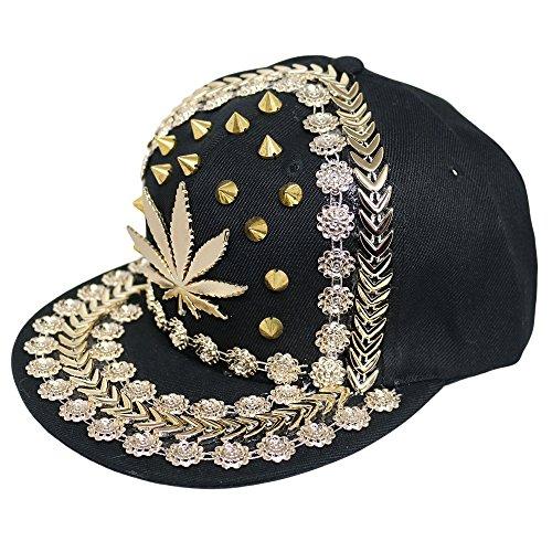 Unisexe Punk/Hip-Hop clous Rivet Baseball Caps-Plusieurs modèles disponibles, Multicolore - Black/Gold Spike,