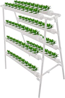 Hydroponic Grow Kit, 4 Layers 72 Sites Hydroponisches System, 8 Pipes Growing System, for Leafy Vegetables Lettuce Herb Ce...