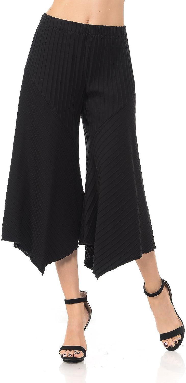 Focus Fashion Women's Cotton Texture Jersey Gaucho Capri Pant