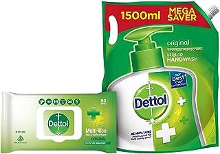 Dettol Disinfectant Skin & Surface Wipes, Original - 80 Count & Dettol Original Handwash Liquid Soap Refill, 1500ml