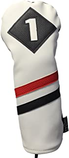 Majek Retro Golf Headcover White Red and Black Vintage Leather Style 1 Driver Head Cover Fits 460cc Drivers Classic Look