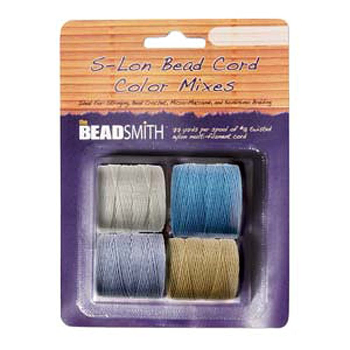 4 Spools Super-lon #18 Cord Ideal for Stringing Beading Crochet and Micro-macram Jewelry Compatible with Kumihimo Projects S-lon Chino Mix