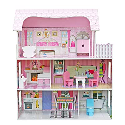 Teekland Large Children's Wooden Dollhouse Kid ...