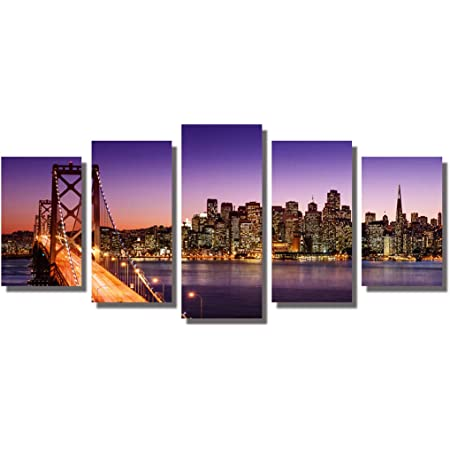 Framed 5 Panels San Francisco Bay Bridge Canvas Wall Art Print On Canvas For Home Decoration Contemporary Art Landscapes For Living Room Bedroom Office Ready To Hang Posters Prints