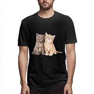 Zoomu English Short and Orange Catmen's Short Sleeve Standard T-Shirt Slim-fit Short-Sleeve Slub Henley T-Shirt