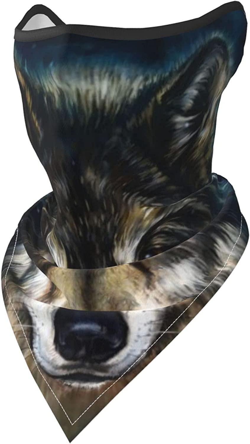 Boho Style Wolf Head Animal-2 Breathable Bandana Face Mask Neck Gaiter Windproof Sports Mask Scarf Headwear for Men Women Outdoor Hiking Cycling Running Motorcycling