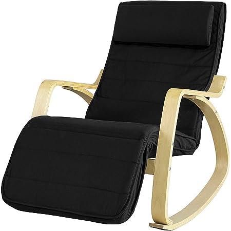 SoBuy FST16-Sch Fauteuil à Bascule Fauteuil Berçant en Bois de Bouleau Flexible Fauteuil Relaxant avec Repose-pied Réglable Rocking Chair - Noir