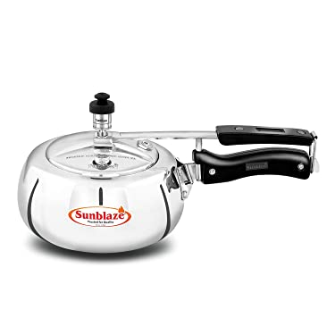 Sunblaze Style-O-Curve Induction Base Anti-Bulging Fuel Efficient Base Best Aluminium Heavy Pressure Cooker with Inner Lid Silver 3 litres 5 Years Warranty Free Home Service