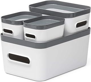 Lot de 4 Boîtes en Plastique Compact M S XS avec Couvercle - Rangez Votre Maison avec Style & Praticité - Blanc - Couvercl...