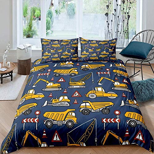 Zooseso 3D Bedding Set ( Single size 135 x 200 cm ) Building construction site truck excavator crane photos Bed sheets Queen Twin Full Duvet Cover Bed sheet Pillowcase 3pcs/set Fitted sheet Home Tex