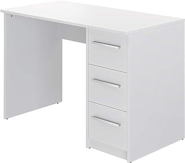 Movian, scrivania con 3 cassetti in stile moderno, modello Idro, 56 x 110 x 73,5 cm, colore bianco