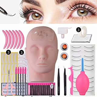 Professional Lashes Kit False Eyelash Extensions Practice Kit Set for Beginners Makeup Training and Eyelash Graft (No Contain Glue)