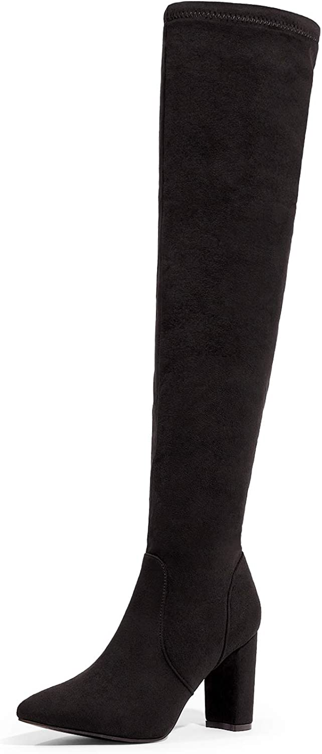 DREAM PAIRS Women's Thigh High Fashion Boots Over The Knee Block Heel Boots