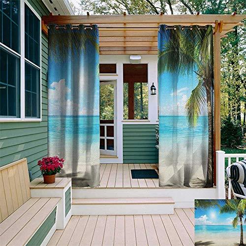 leinuoyi Tropical Beach, Outdoor Curtain Ends, Coconut Palm Trees Shadows On Caribbean Shore Summer Plants Idyllic, for Patio Furniture W96 x L108 Inch Aqua Coconut Green