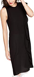RACHEL Rachel Roy Womens Ruffled Sleeveless Tunic Dress Black S