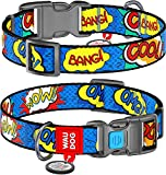 Adjustable Dog Collar for Medium Dogs - Nylon Dog Collars with QR ID Tag for Large Dogs - Breakaway...