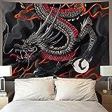 black red Chinese Dragon Japanese dragon art...