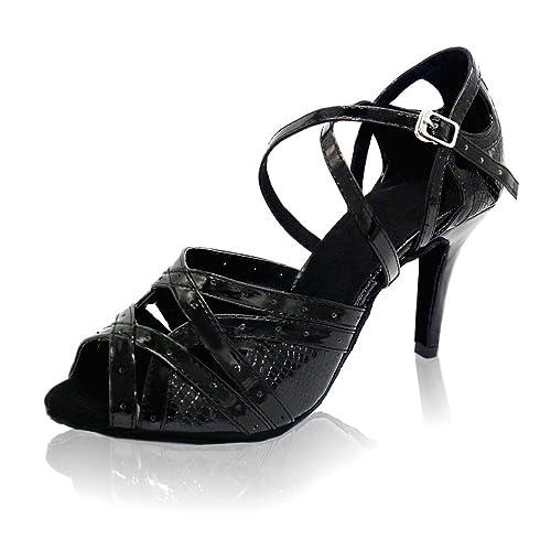 KAI-ROAD Ballroom Dance Shoes Women 3.5 Inch High Heels Leather Salsa Latin  Dancing Sandals c1dee109602b