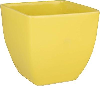 Jardin Vert Solid Yellow Color Cubo Shape Cermic Pot Without Plant