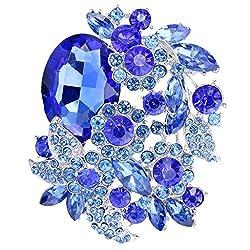 Sapphire Color Silver-Tone Rhinestone Brooch