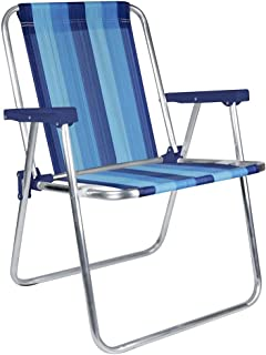 MOR Aluminum Beach Chair - 1 Position - (Pack of 1) - (Blue Variation Stripe)