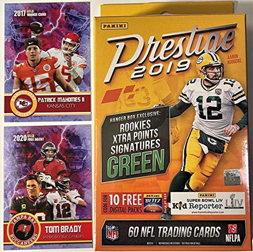 2019 Panini PRESTIGE Factory Sealed Football Hanger Box with 60 NFL Cards - Plus NEW Patrick Mahomes and TOM BRADY Custom Football Cards! 62 Total Cards.